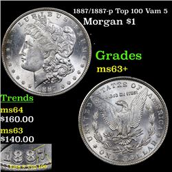 1887/1887-p Top 100 Vam 5 Morgan Dollar $1 Grades Select+ Unc