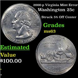 2000-p Virginia Mint Error Washington Quarter 25c Grades Select Unc