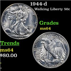 1944-d Walking Liberty Half Dollar 50c Grades Choice Unc