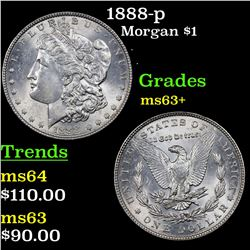 1888-p Morgan Dollar $1 Grades Select+ Unc