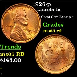 1926-p Lincoln Cent 1c Grades GEM Unc RD