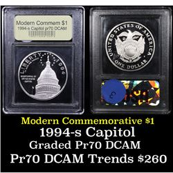 Proof 1994-S Capitol Modern Commem Dollar $1 Graded GEM++ Proof Deep Cameo By USCG