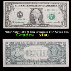 *Star Note* 1999 $1 San Francisco FRN Green Seal Grades xf