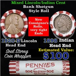 Mixed small cents 1c orig shotgun roll, 1920-d Wheat Cent, 1898 Indian Cent other end, N.F. String &