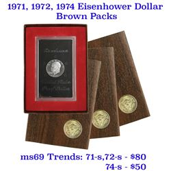 Group of 3 United States Brown Ike Eisenhower Proof Dollars 1971, 1972, & 1974