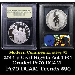 Proof 2014-P Civil Rights Act Of 1964 Modern Commem Dollar $1 Graded GEM++ Proof Deep Cameo By USCG