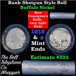 Buffalo Nickel Shotgun Roll in Old Bank Style 'Bell Telephone'  Wrapper 1915 & s Mint Ends