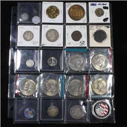 Page of 20 Mixed coins Barber 50c, Barber 25c, Jefferson 5c, Eisenhower $1, Draped Bust 1c