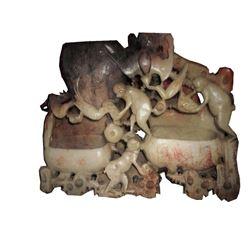 Soapstone Monkeys, Dual Brush Pots Bixi Sculpture