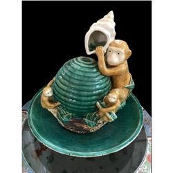 Neiman Marcus Limited Edition Ceramic Figural Monkey Table Fountain