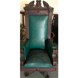 Late 19thc Eastlake Upholstsered Swivel Arm Chair