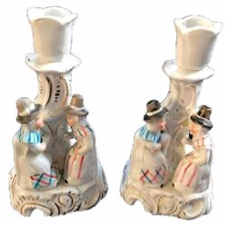 19thc Pair of German Contra Boehme Porcelain Fairing Candle Holders, Welch Tea Party