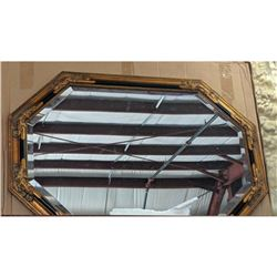 Neoclassical-style Black & Gold Gilt Octagon Beveled Mirror