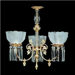 Crystal & Brass Victorian Style Rose Floral Parlor Chandelier