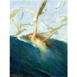 After Giovanni Segantini, Mermaid Mobbed By Seagulls