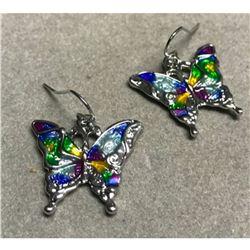 Butterfly Multi-color Enameled Hook Earrings