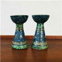 Pair of Italian Mid Century Modern Ceramic Candlesticks