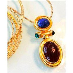 """Vintage Estate Givenchy Mogul Gold & Lapis Scarab Gripoix 36"""" Sautoir Necklace"""
