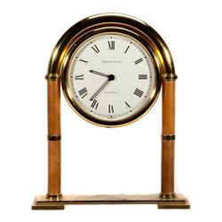 Tiffany & Co. Brass Desk Mantle Clock - Swiss made quartz movement, battery operated.