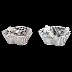 A pair of Belleek china four-strand baskets