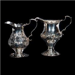 Georgian hallmark silver creamers