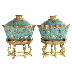 A pair of 18-/19th century Chinese Cloisonne