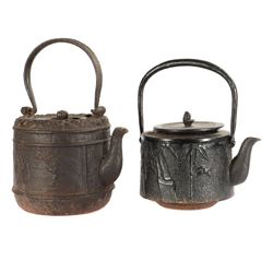 19th-century Asian iron kettle