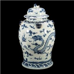 A 18th-/19th century blue and white 'dragon' jar