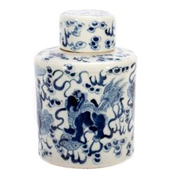 19th century blue and white jar and cover