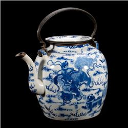 A Chinese Blue & White Teapot, 19th C.