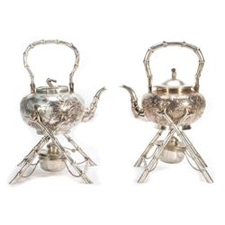 Late 19th/early 20th Chinese silver teapots and stands