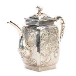 Late 19th/early 20th Chinese silver teapot