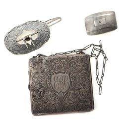 Collection of vintage silver accessories