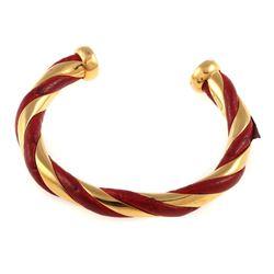Vintage Hermes gold tone, red leather cuff bracelet