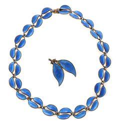 David-Andersen blue enamel and silver necklace