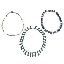 Three stone-set, silver necklaces, Mexico