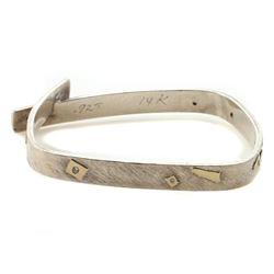 Diamond, sterling silver and 14k gold bangle bracelet