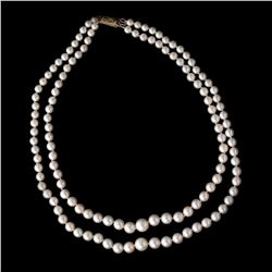 Cultured pearl, 18k gold double strand necklace, French