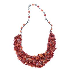 Coral and metal bib necklace