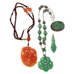 Carved jade, rock crystal, silver, gold-filled jewelry