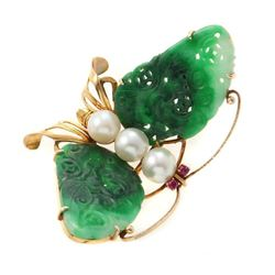 Jade, cultured pearl, red stone, 14k gold butterfly pin
