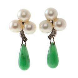 Pearl, jade, diamond, 14k white gold clip earrings