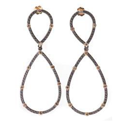 Diamond, oxidized silver, 14k gold pendant earrings