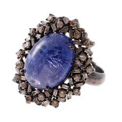 Tanzanite, diamond & blackened silver ring