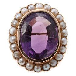 Antique amethyst, half pearl, 14k gold brooch-pendant