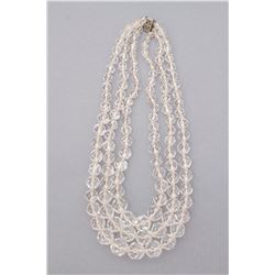 Art Deco rock crystal quartz triple strand necklace