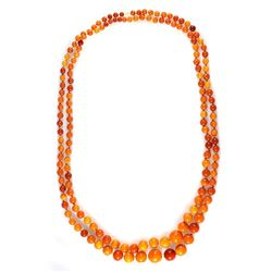 Amber bead 'flapper' necklace