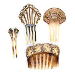Vintage rhinestone, celluloid and shell hair combs