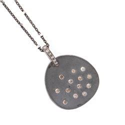 Diamond and blackened silver pendant & chain