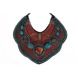 Tribal coral, turquoise, and glass necklace